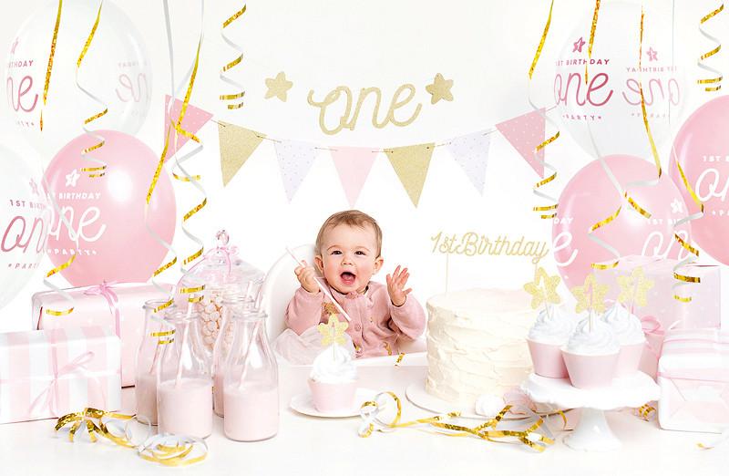 """Zestaw dekoracji Party na """"1 urodziny - Roczek"""", różowy"""