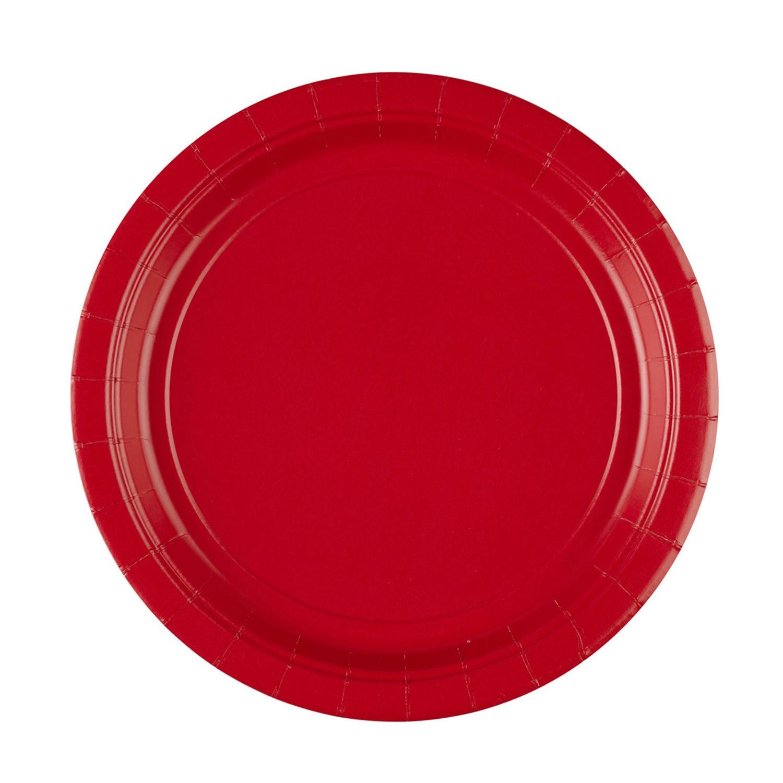 Talerzyki papierowe - czerwone / 22,8 cm