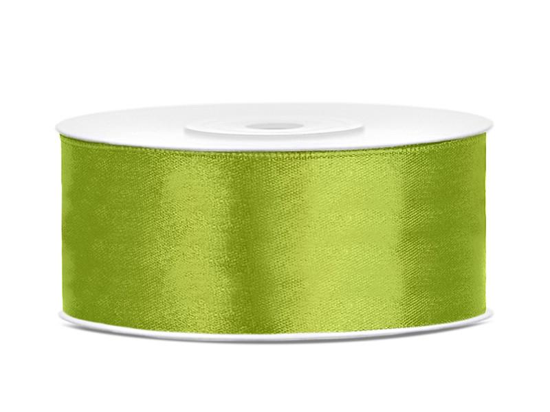 Tasiemka satynowa, zielone jabłuszko / 25 mm