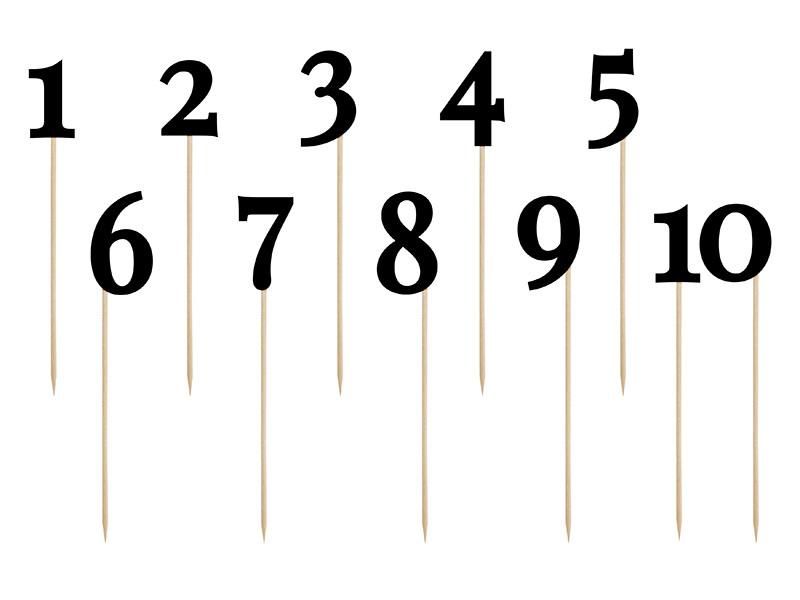Numery na stoły gości czarne