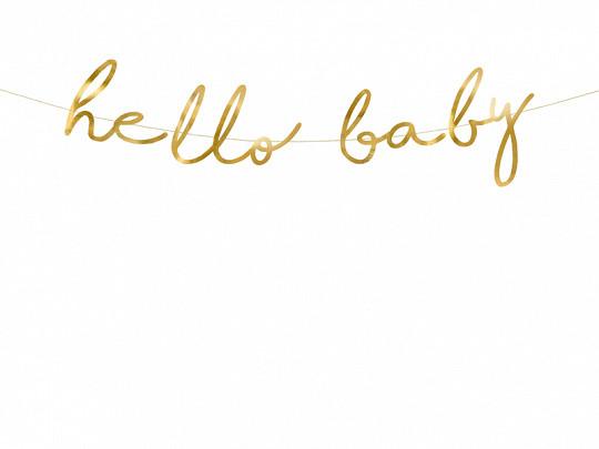 """Girlanda na przywitanie dziecka złota """"Hello Baby"""" / GRL83-019M"""