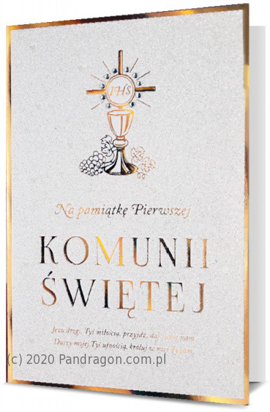 Kartka na komunię pamiątka komunijna z okazji I Komunii Świętej / HM200-1782