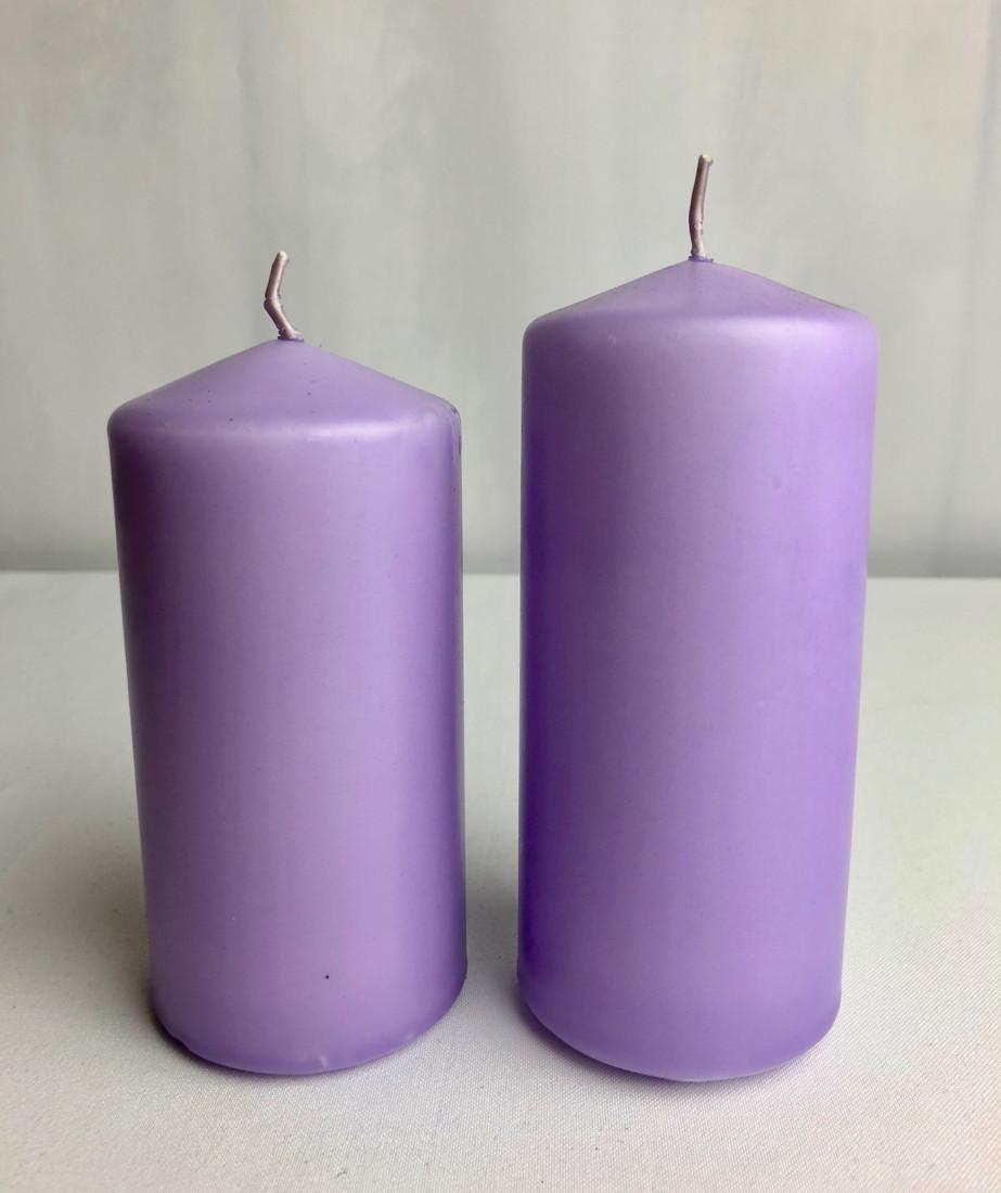 Fioletowa świeca walec, matowa / 15x6 cm