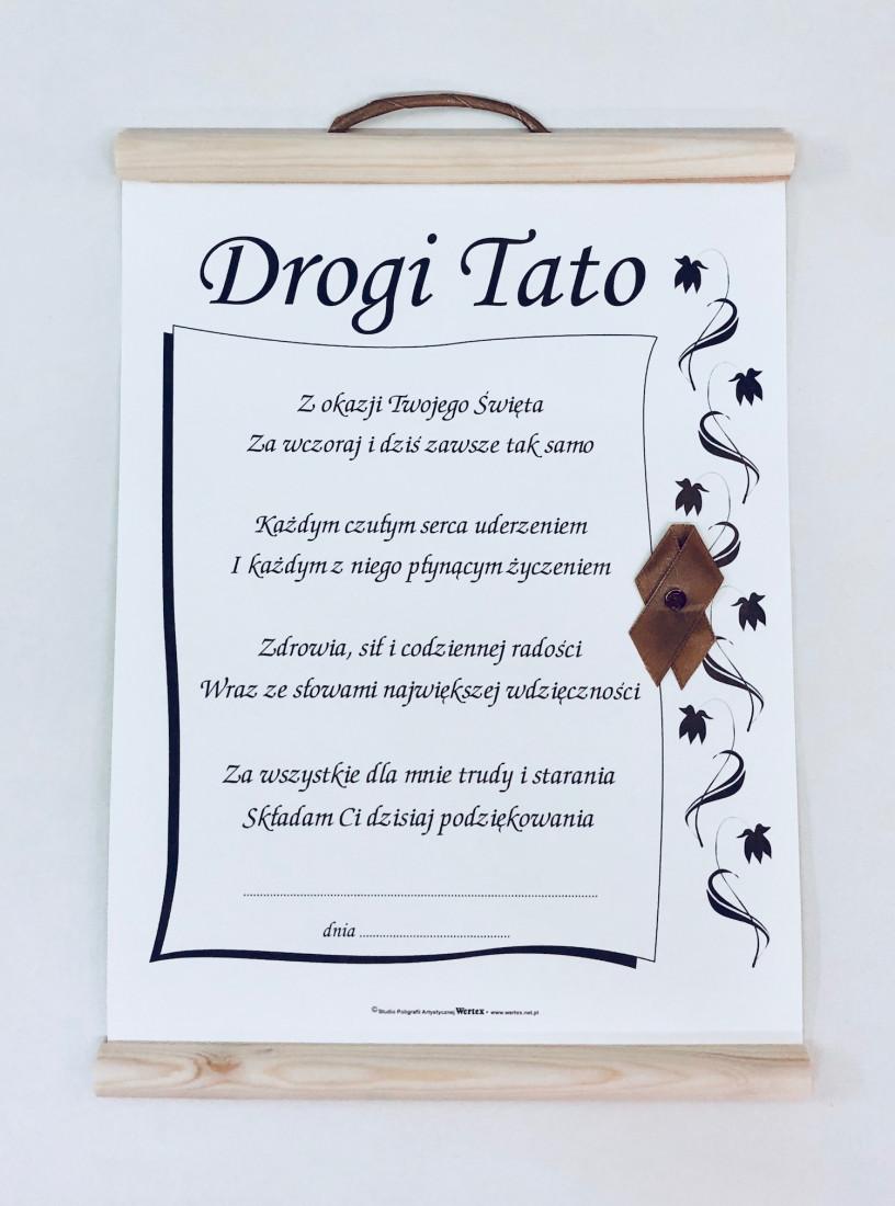 """Dyplom dla Taty """"Drogi Tato"""" / WER-KART-ECRU-38"""