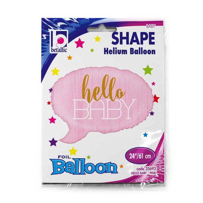 """Balon na Narodziny foliowy różowa chmurka """"Hello Baby"""" / 61 cm"""