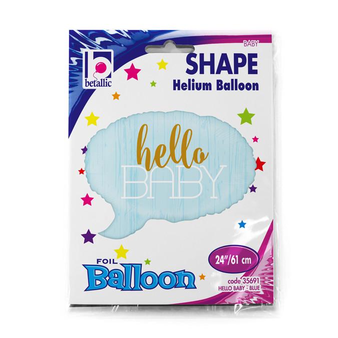 """Balon na Narodziny foliowy błękitna chmurka """"Hello Baby"""" / 61 cm"""