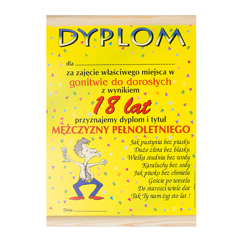 """Dyplom na """"18 urodziny"""" / WER-DYPLOM-013-KOLOR"""