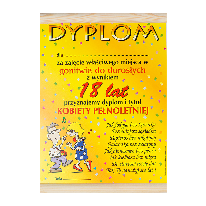 """Dyplom na """"18 urodziny"""" / WER-DYPLOM-014-KOLOR"""