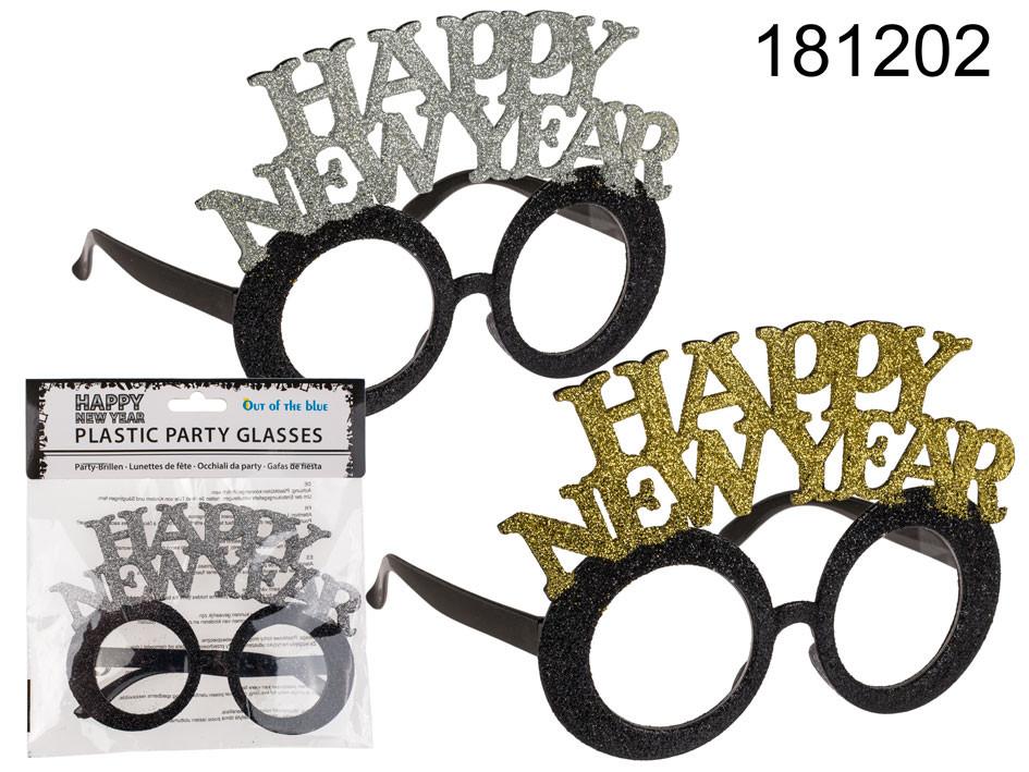 """Okulary sylwestrowe """"Happy New Year"""" / srebrne"""