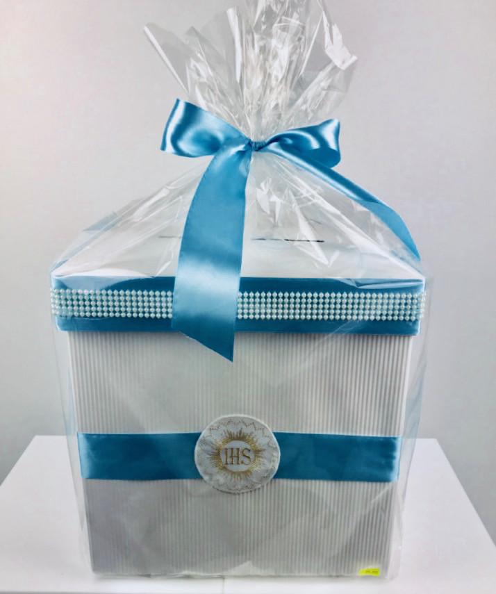 Pudełko Komunijne na koperty I Komunia Święta, niebieskie / 32x32x32 cm