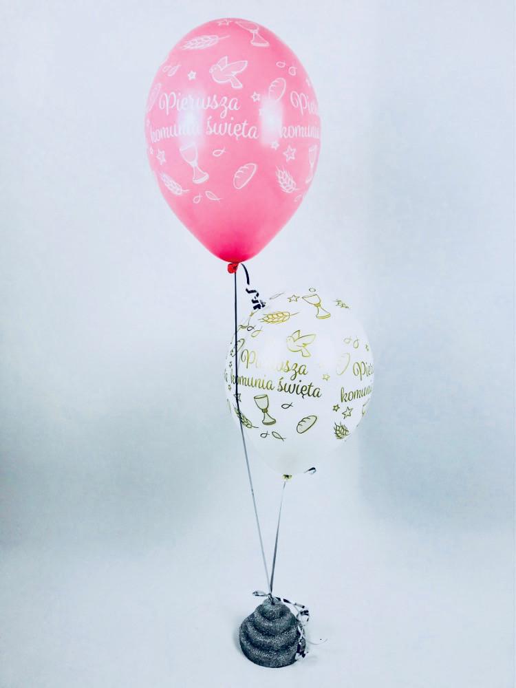 Balony Komunijne lateksowe na I Komunię Świętą, róż-biel
