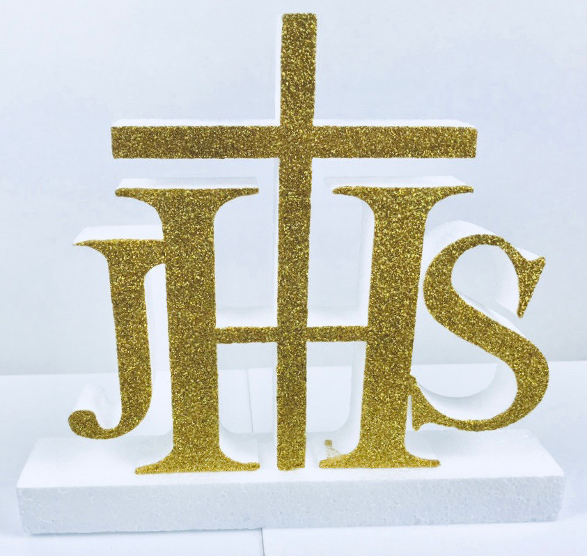 """Dekoracja na komunię ze styroduru """"IHS"""", mała / 26x29 cm"""