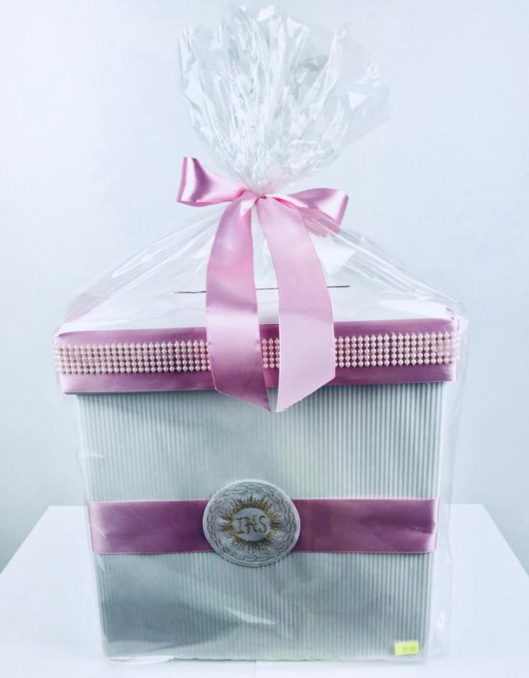 Pudełko Komunijne na koperty I Komunia Święta, różowe / 32x32x32 cm