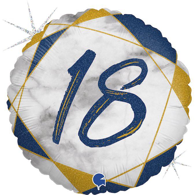 """Balon foliowy matowy na """"18 urodziny"""" / 46 cm"""