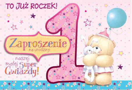 Zaproszenia na Roczek dla dziewczynki / ZZ-036