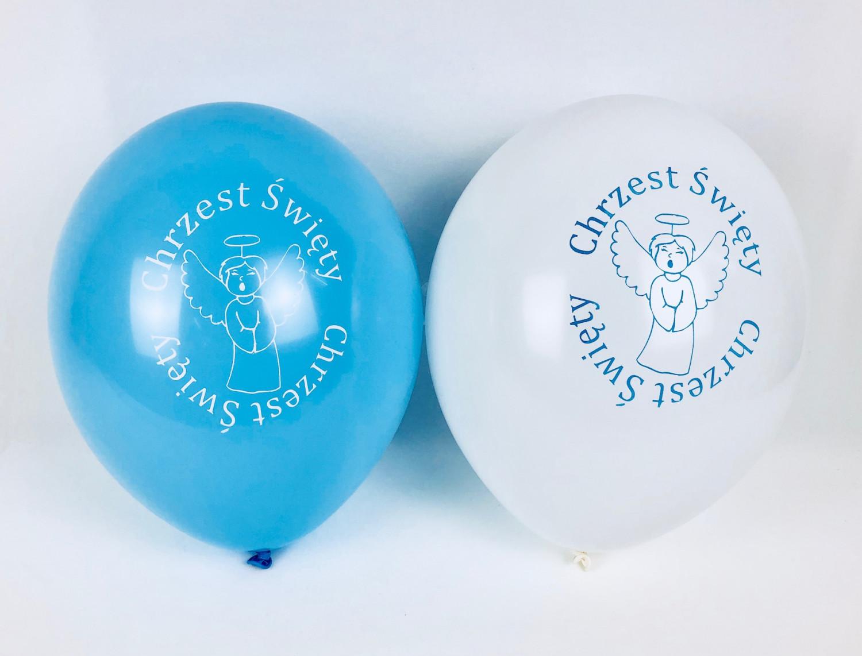 """Balony z nadrukiem """"Chrzest Święty"""", biało-niebieskie"""