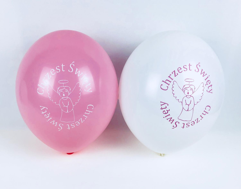 """Balony z nadrukiem """"Chrzest Święty"""", biało-różowe"""