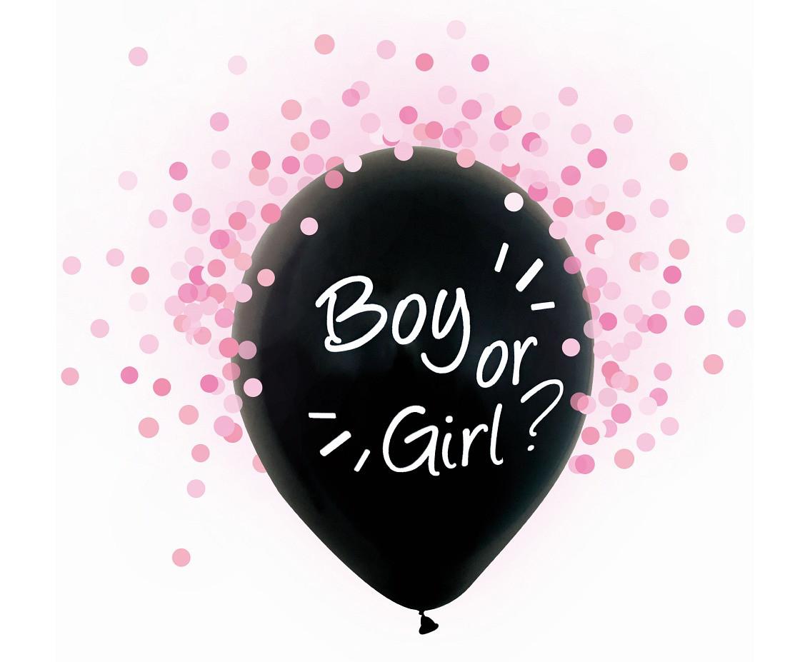Balony lateksowe Boy or Girl, różowe konfetti