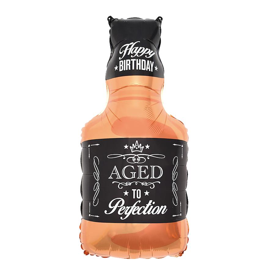 Balon foliowy Butelka Whisky z napisem Happy Birthday / 48x93 cm