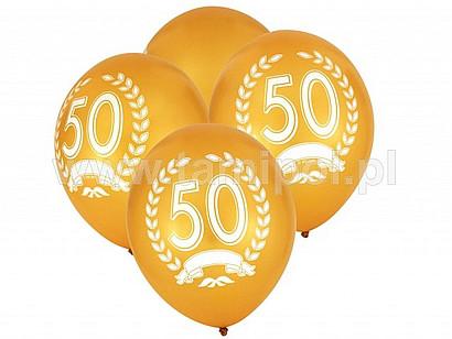 """Balony z nadrukiem """"50-lecie"""", złote"""