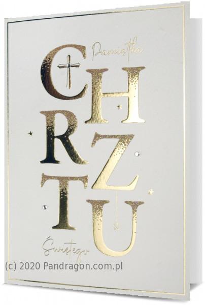 """Kartka na chrzest """"Pamiątka Chrztu Świętego"""" / HM200-2023"""
