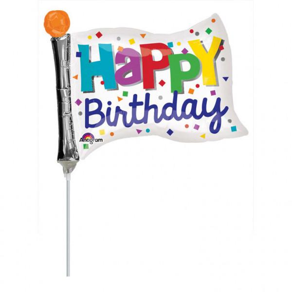 """Balon foliowy mini flaga """"Happy Birthday"""" z patyczkiem / 9"""""""