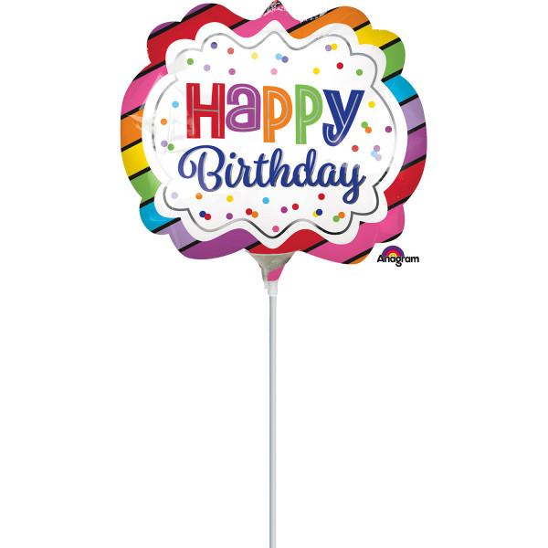 """Balon foliowy mini Happy Birthday z patyczkiem / 9"""""""