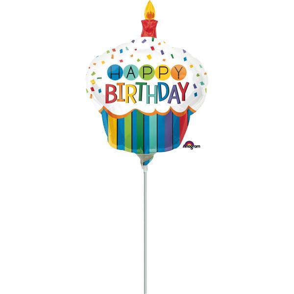 """Balon foliowy mini Babeczka """"Happy Birthday"""" z patyczkiem / 9"""""""