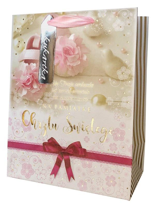 """Torebka prezentowa """"Na pamiątkę Chrztu Świętego"""" dla dziewczynki / QL-314"""