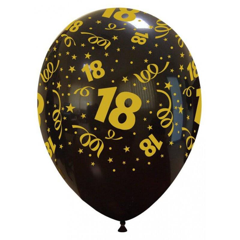 Balony lateksowe na 18 urodziny, czarne ze złotym nadrukiem