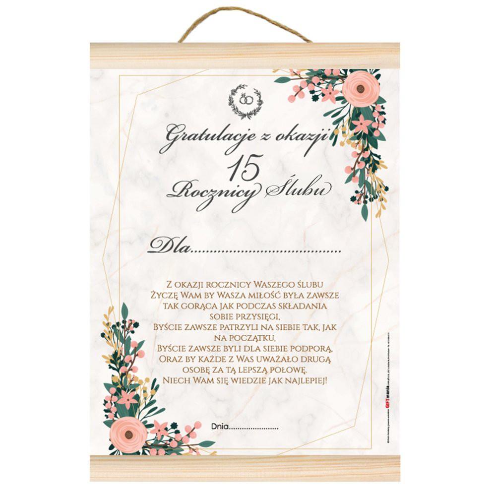 """Dyplom na Rocznicę Ślubu - gratulacje """"Z okazji 15 rocznicy ślubu"""""""