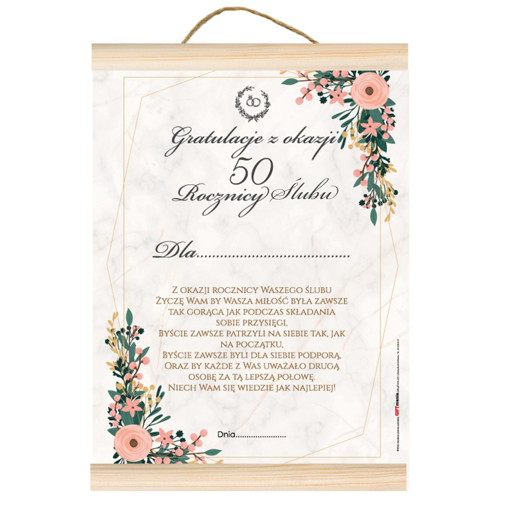 """Dyplom na Rocznicę Ślubu - gratulacje """"Z okazji 50 rocznicy ślubu"""""""