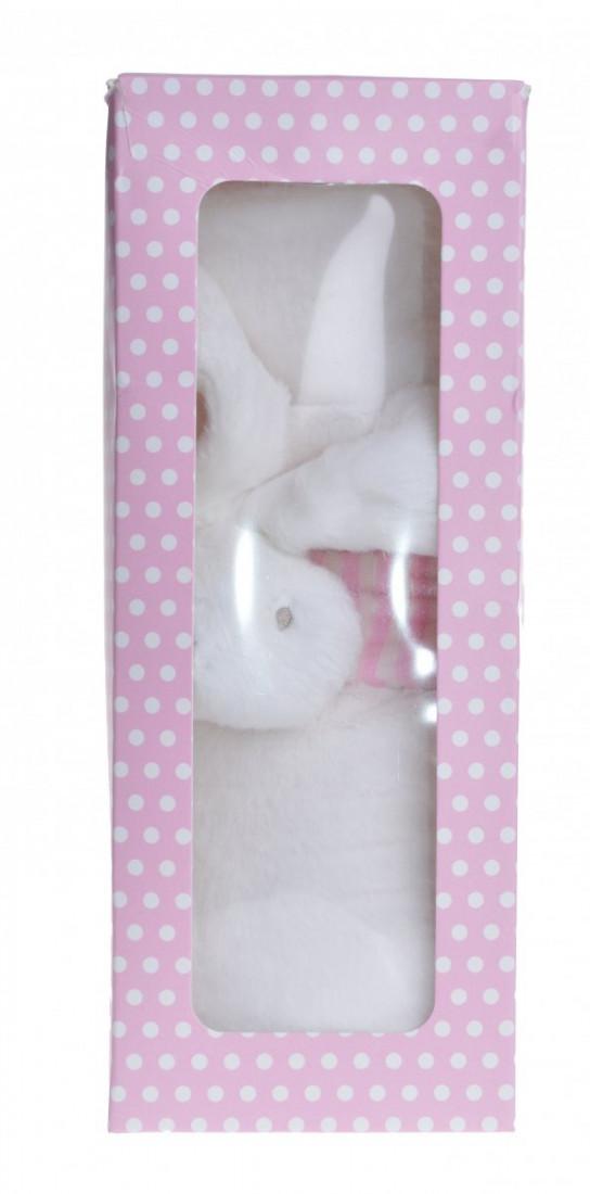 Kocyk z króliczkiem w pudełku, biało-rożowy / 72x70 cm
