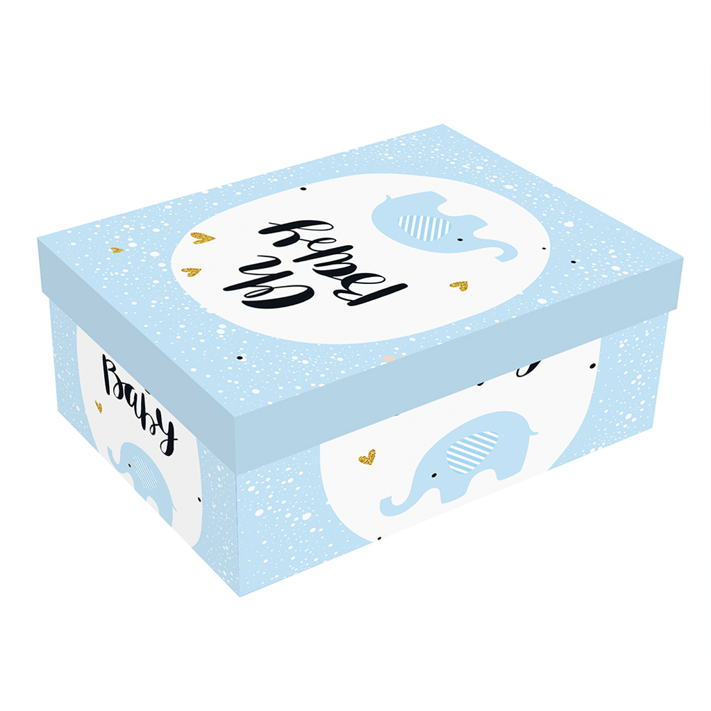 """Pudełko prezentowe """"Oh Baby"""", niebieskie / 28x11,5x7 cm"""