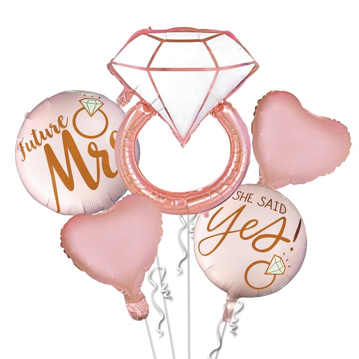Bukiet z 5 balonów na Wieczór Panieński, różowe złoto