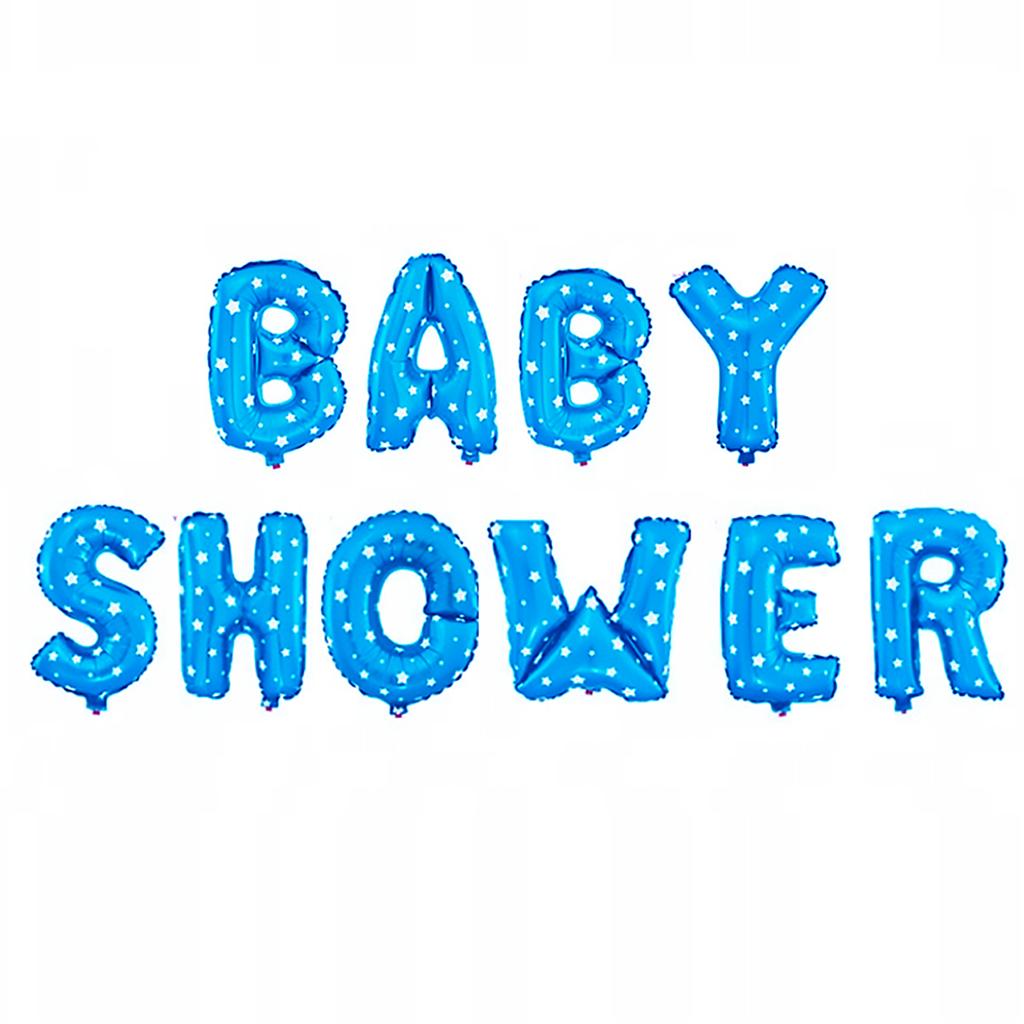 Balony na Baby Shower chłopca foliowy, błękitny w białe gwiazdki