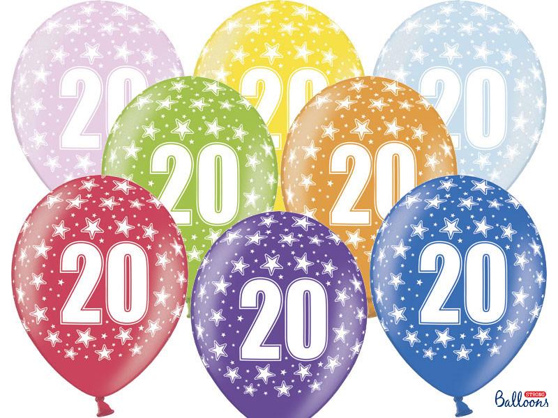 Balony na 20 urodziny, mix kolorów / SB14M-020-000-6