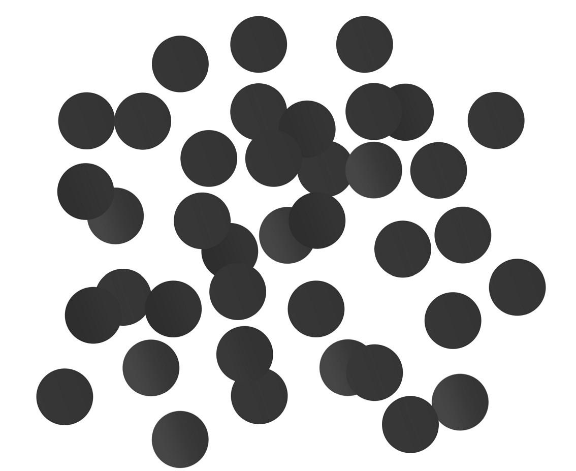 Konfetti foliowe Kółeczka czarne, 2 cm / 250g