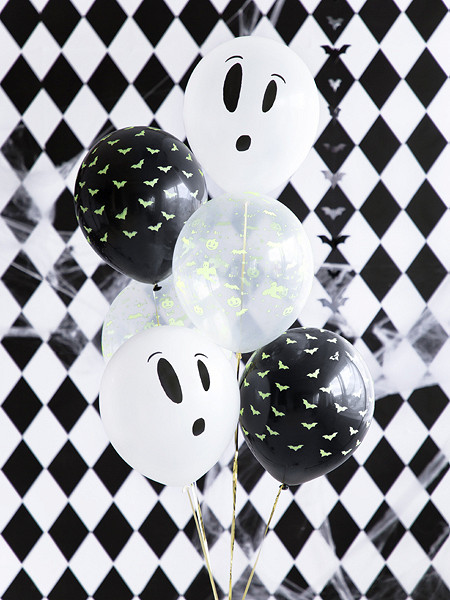"""Balony na Halloween  UV  """"Duszki i nietoperze BOO!"""", mix / 27 cm"""