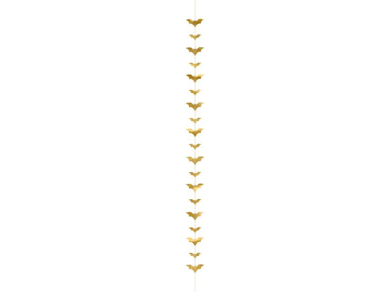 Dekoracja na Halloween złote Nietoperze / 1,5 m