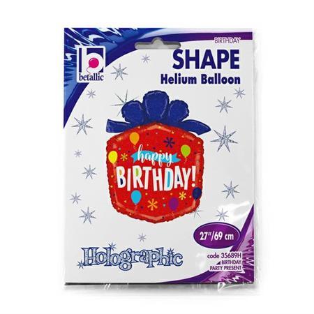 """Balon foliowy w kształcie prezentu 27"""" """"Happy Birthday"""""""