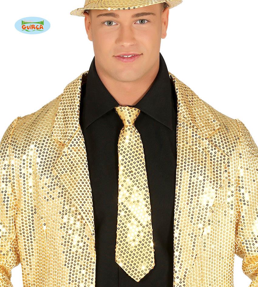 Złoty krawat z cekinami