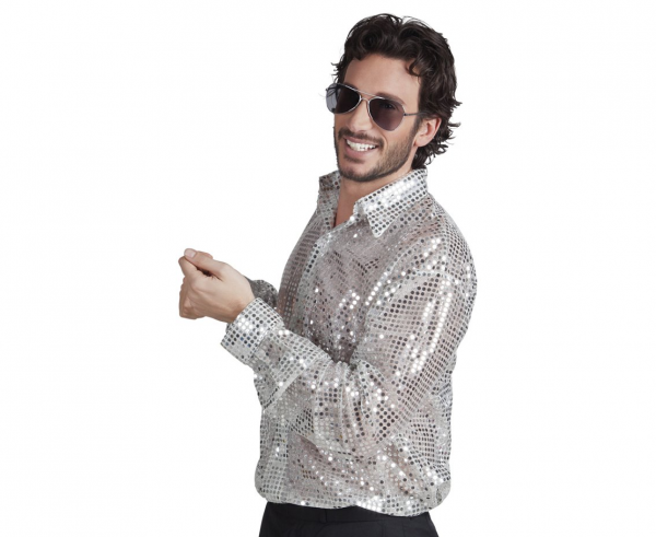 "Męska koszula cekinowa srebrna ""Disco"" / rozm."
