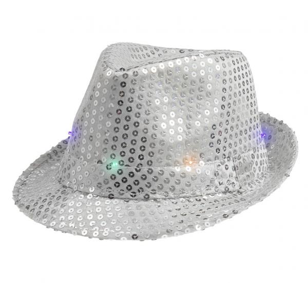 Srebrny kapelusz świecący z cekinami