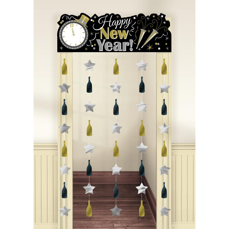 """Dekoracja - kurtyna na drzwi - fotościanka """"Happy New Year"""" / 99x195,5 cm"""