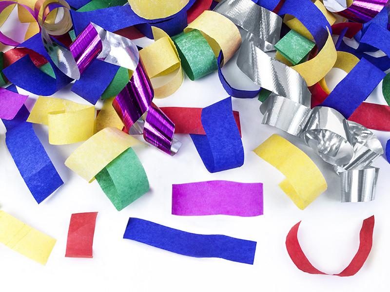 Tuba wystrzałowa konfetti - metalizowane, kolorowe konfetti i serpentyny / 40 cm