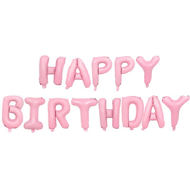 """Balonowy napis """"Happy Birthday"""", różowy"""