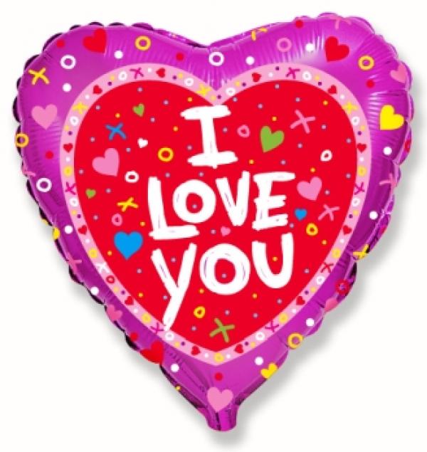 """Balon foliowy 18"""" FX Serce """"I love you + konfetti"""" (niezapakowany)"""
