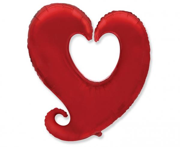 """Balon foliowy 24"""" Serce czerwone (niezapakowany)"""