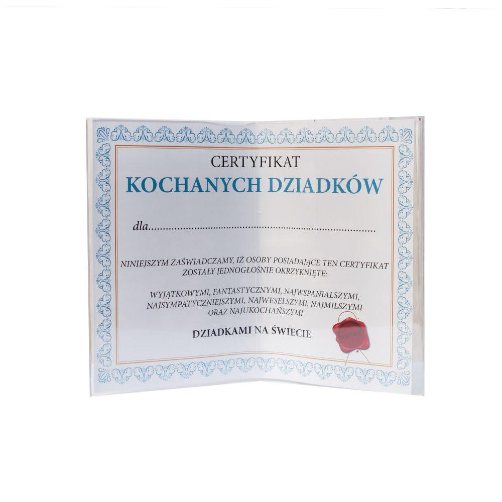 """Certyfikat """"Kochanych Dziadków"""" w ramce plexi"""